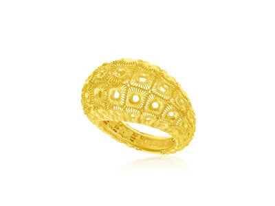 RICHARD CANNON Honeycomb Mesh Design Dome Ring in 14K Yellow Gold - Fashion Res Publica  - 1