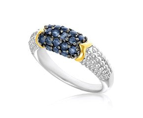 RICHARD CANNON Blue Sapphire Accented Popcorn Style Ring in 18K Yellow Gold and Sterling Silver - Fashion Res Publica  - 1