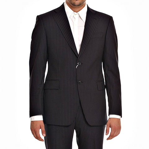 PIERRE BALMAIN Men's Black/stripes Wool Suit