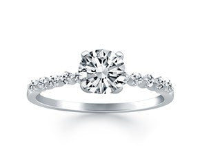 Diamond Engagement Ring with Shared Prong Diamond Accents in 14K White Gold - Fashion Res Publica  - 1