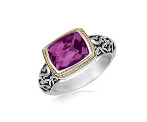 RICHARD CANNON Rectangular Amethyst Ring in 18K Yellow Gold and Sterling Silver - Fashion Res Publica  - 1