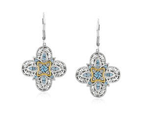Blue Topaz Quatrefoil Earrings with Diamonds in Sterling Silver and 14K Yellow Gold - Fashion Res Publica  - 1