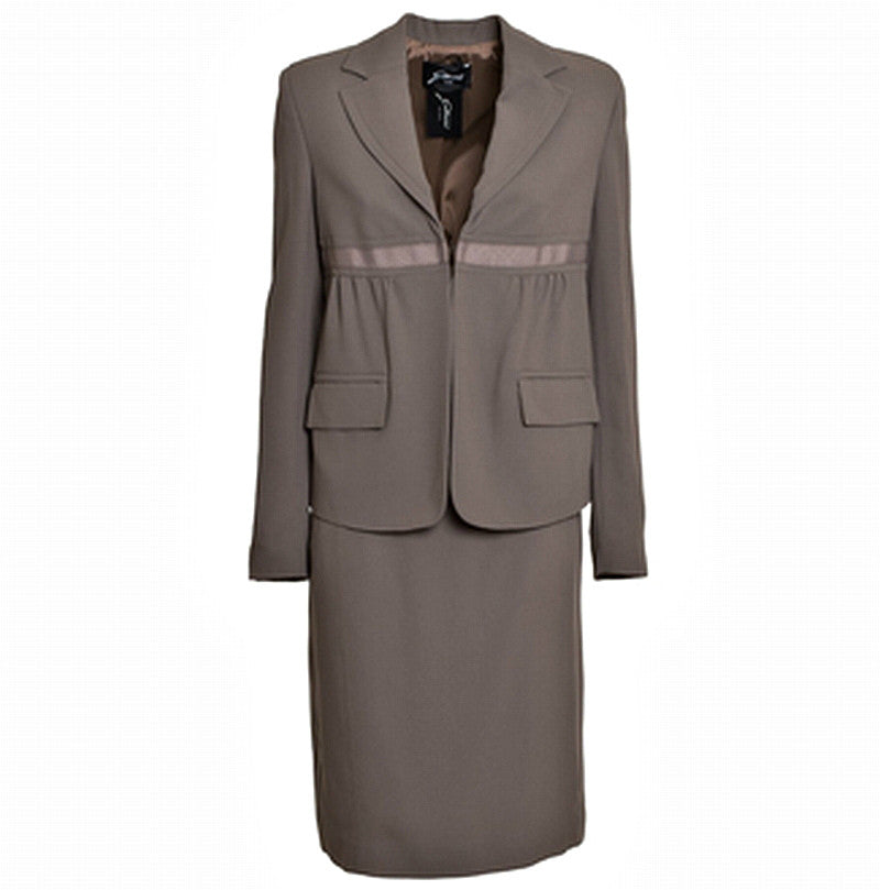 GATTINONI Mixed Fabric Straight Skirt Suit - Fashion Res Publica  - 1