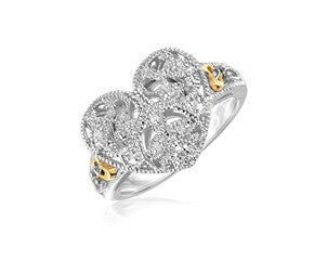 RICHARD CANNON Filigree Heart Ring with Diamonds in Sterling Silver and 14K Yellow Gold - Fashion Res Publica  - 1