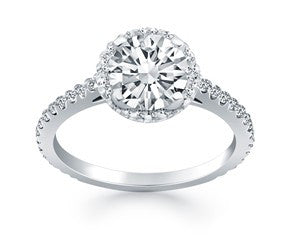 Diamond Halo Cathedral Engagement Ring with Accent Diamonds in 14K White Gold - Fashion Res Publica  - 1