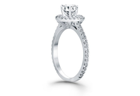 Diamond Halo Cathedral Engagement Ring with Accent Diamonds in 14K White Gold - Fashion Res Publica  - 2