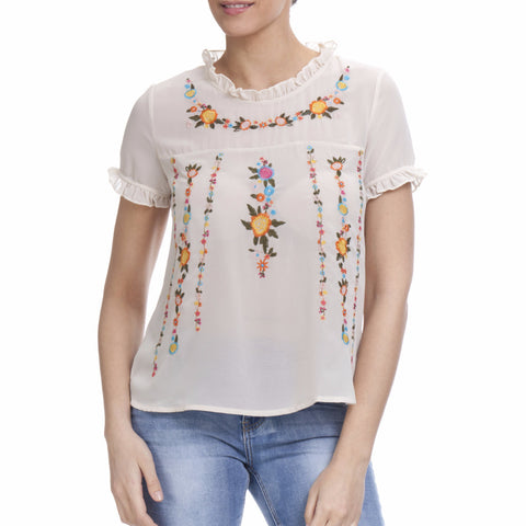 Tantra Blouse with Embroidery Flowers