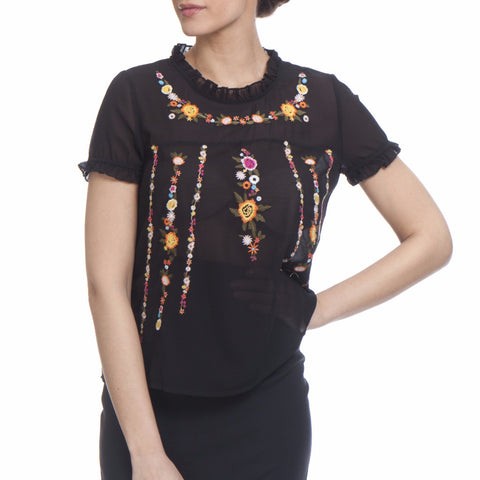 Tantra Flowers Embroidered Blouse
