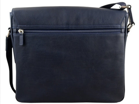 GIULIO BARCA Blue Leather Messenger Bag - Fashion Res Publica  - 3