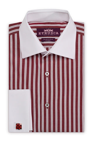 ETRUSCA Gentiluomo - Maroon and White Striped Shirt