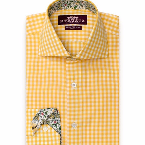 ETRUSCA Avvocato - Yellow Gingham with Green and Yellow Floral Contrast Shirt