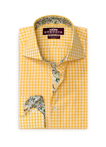 ETRUSCA Avvocato - Yellow Gingham with Green and Yellow Floral Contrast Shirt - Fashion Res Publica  - 2