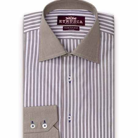 ETRUSCA Giorno Cotton Striped Dress Shirt - Fashion Res Publica  - 1