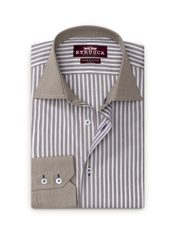 ETRUSCA Giorno Cotton Striped Dress Shirt - Fashion Res Publica  - 2