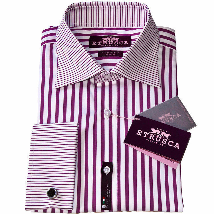 ETRUSCA Gentiluomo – Purple Striped Shirt - Fashion Res Publica  - 1