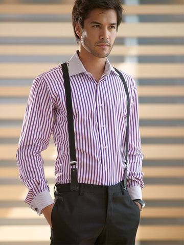 ETRUSCA Gentiluomo – Purple Striped Shirt - Fashion Res Publica  - 2