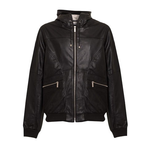 Calvin Klein Men's Leather Hooded Jacket