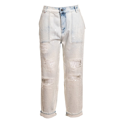 TWIN SET Women's Jeans with Sequins and Tears