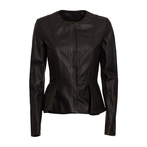 Gay Laroche Women's Leather Ruffled Peplum Waist Jacket