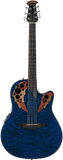 Ovation Celebrity® Collection Celebrity Elite® Exotic Mid-Depth Caribbean Blue On Exotic Quilted Maple