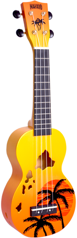 Mahalo MD1HAORB Hawaii Orange Burst Soprano Ukulele