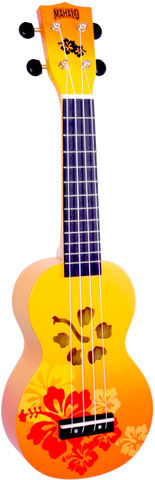 Mahalo MD1HBORB Hibiscus Orange Burst Soprano Ukulele