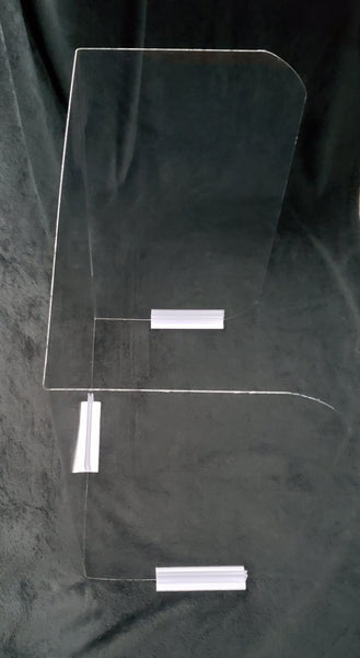 Clear sneeze guard barrier with mounting clips top angle view