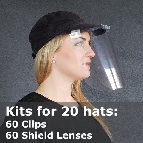 Hat Face Shield Kits, Baseball Cap Mounted, Kits for 20 Hats 60 Shields
