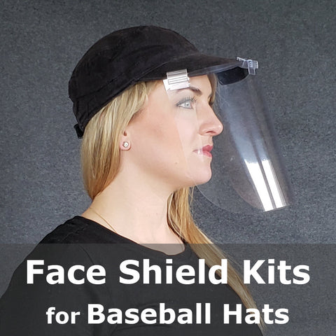 Hat Face Shield Kits, Baseball Cap Mounted, Kits for 5 Hats 15 Shields