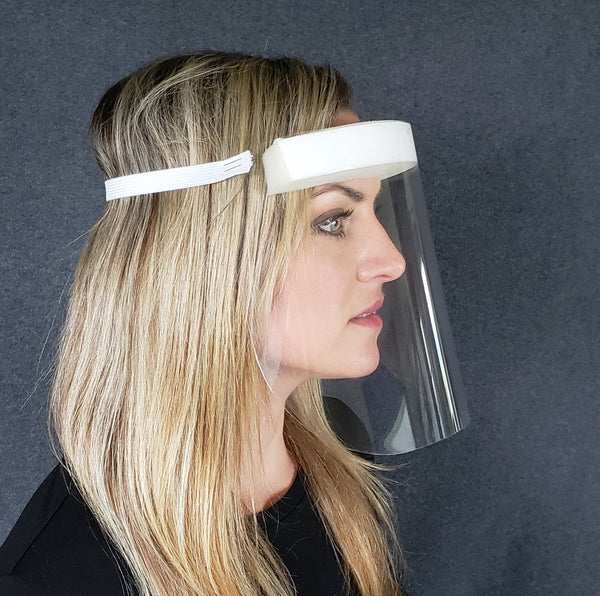Assembled face shield side view white headband