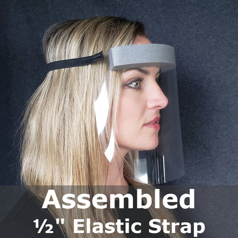Assembled face shield side view with label