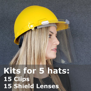 Hat Face Shield Kits, Safety Hard Hat Mounted, Kits for 5 Hats 15 Shields