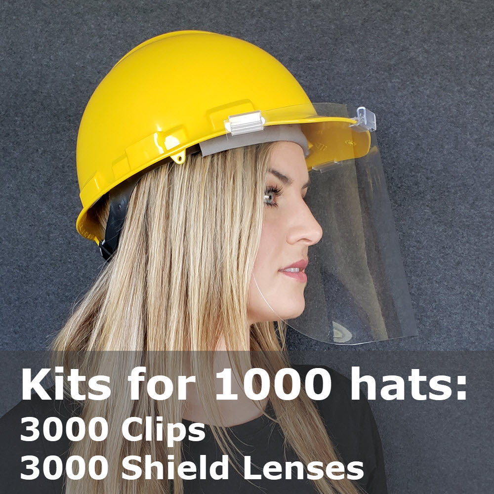 Hat Face Shield Kits, Safety Hard Hat Mounted, Kits for 1000 Hats 3000 Shields
