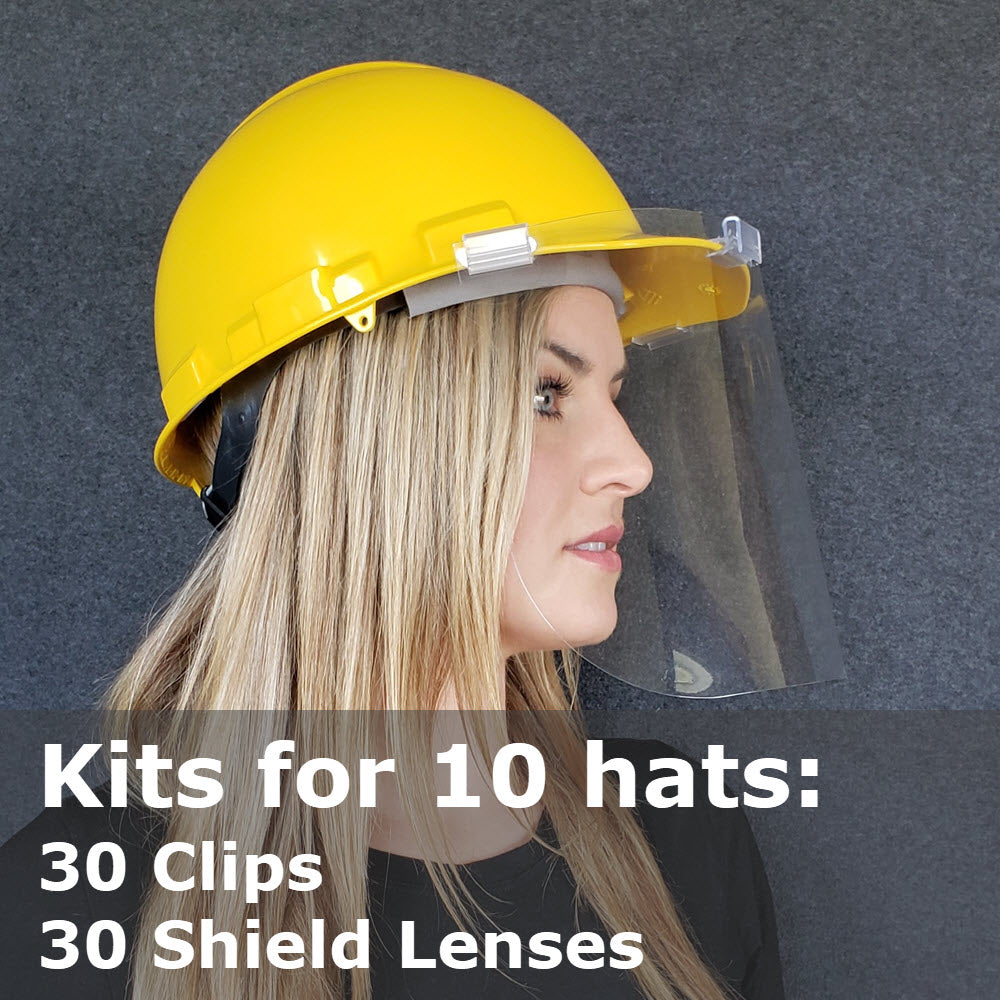 Hat Face Shield Kits, Safety Hard Hat Mounted, Kits for 10 Hats 30 Shields
