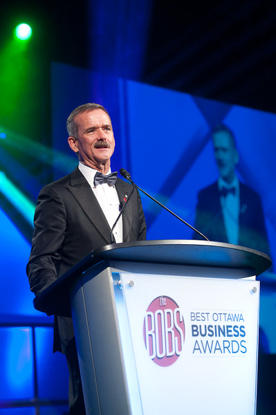 Commander Chris Hadfield introducing and honouring Michael Potter