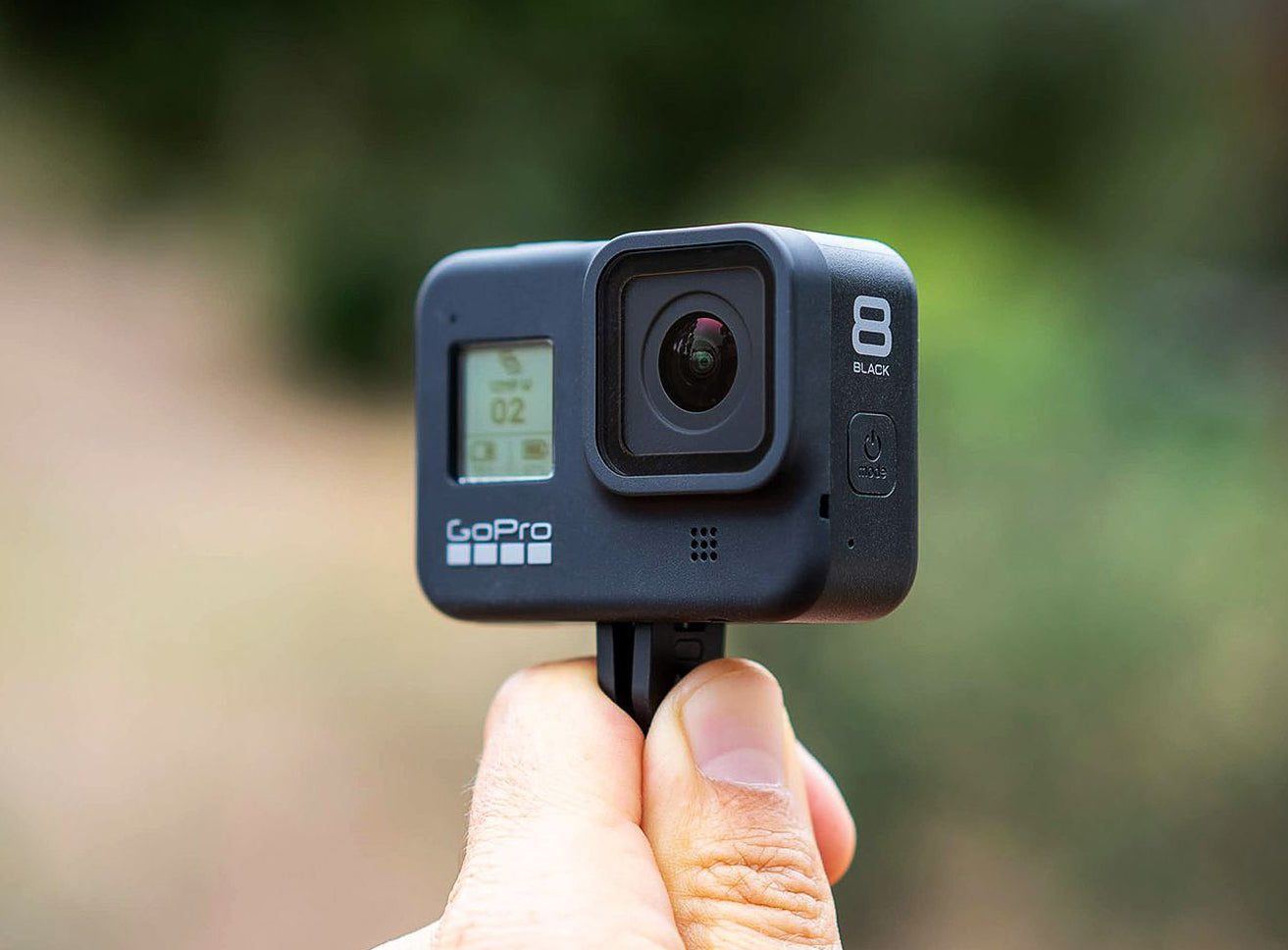 Holding the new GoPro Hero 8 Black (photo by The Verge)