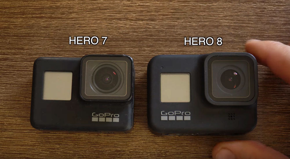 Hero 7 Black vs Hero 8 Black Size Comparison (photo by Micbergsma)