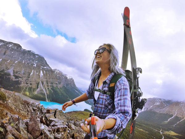 Taylor Sudermann Hiking in Banff with her Spivo Stick