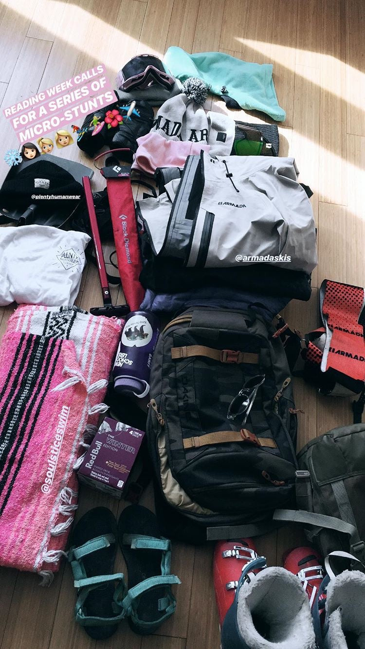 Taylor showing what she packs before heading out on an adventure