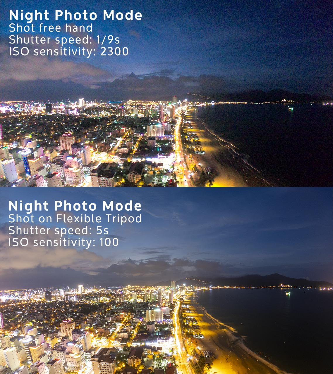 GoPro Hero 7 Black was used in Night Photo Mode for both photos.