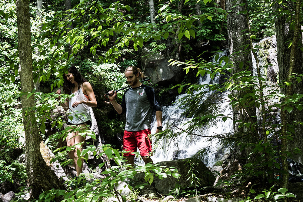 Actors arriving on set in the woods with the Spivo Stick