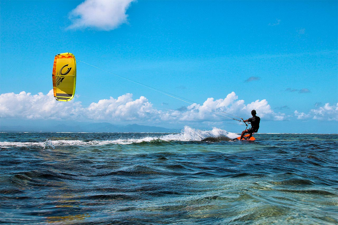Indonesia south east Sanur kite boarding on the ocean