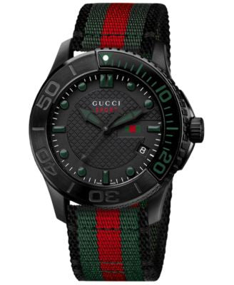 Gucci Watch, Unisex Swiss G-Timeless Black, Green and Red Nylon Strap 40mm YA126229