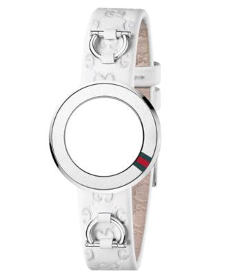 Gucci Watch Band Strap and Bezel, Women's U-Play White Guccissima Leather 27mm YFA50031