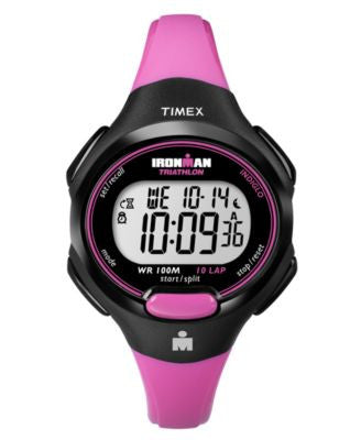 Timex Watch, Women's Digital Ironman 10 Lap Pink Resin Strap 35mm T5K525UM