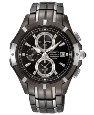 Seiko Watch, Men's Chronograph Black Ion Plated Stainless Steel Bracelet 41mm SNAE57