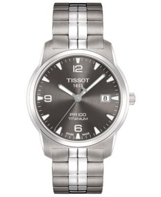 Tissot Watch, Men's Swiss PR 100 Anthracite Stainless Steel Bracelet T0494104406700