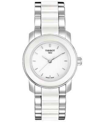 Tissot Watch, Women's Swiss Cera Stainless Steel and White Ceramic Bracelet T0642102201100