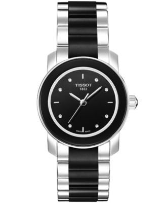 Tissot Watch, Women's Swiss Cera Stainless Steel and Black Ceramic Bracelet T0642102205600