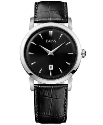 BOSS Hugo Boss Watch, Men's Ultra Slim Black Leather Strap 1512637